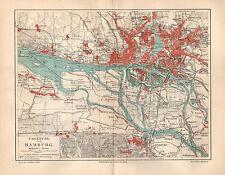 Hamburg Blankenese Altona Harburg Lurup St.Pauli und Umgebung Karte von 1905