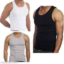 NEW MENS 2 PACK SUMMER FITTED PURE COTTON VESTS T-SHIRTS SLEEVELESS TOPS S-XXL