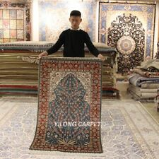 YILONG 3'x5' Blue Hand-knotted Silk Carpet High Density Life Tree Area Rug 295H