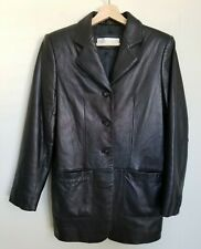 Valerie Stevens NewZealand Lambskin Leather Jacket Buttons Black Lined Size 6