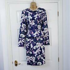 M & S Autograph Pencil Dress Size 16 Purple Floral Print Occasion Wedding Guest