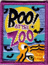 """BOO! AT THE ZOO""  - ANIMALS - JUNGLE - SCARY -  Iron On Embroidered Patch"