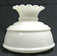 "Vtg Quoizel Opal White Milk Glass 7"" Fitter Hurricane GWTW Lamp Shade-Crimp Top"