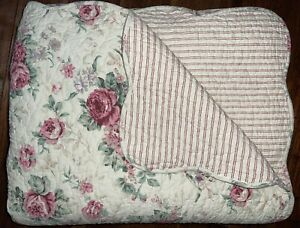 SHABBY CHIC FRENCH COUNTRY COTTAGE ROSE STRIPES REVERSIBLE KING QUILT