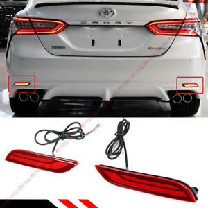 For 2018-2020 Toyota Camry Red Lens Rear Bumper Reflector LED Strip Brake Light