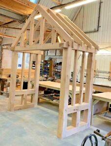 Solid Oak Porch - UPTO 2400mm Wide + Side Returns - Bespoke designs & sizes made