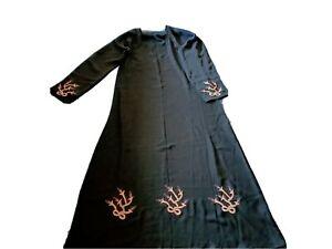 Woman Lady Black Embroidered Long Islamic Muslim Dress Dubai Abaya Hijab Size 52