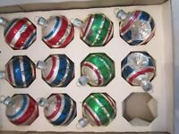 Antique Vintage Round Striped Mercury Glass Christmas Ornament. Indent Lot of 11