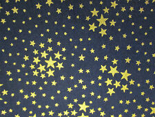 STAR GOLD METALLIC SHOOTING STARS BLUE COTTON FABRIC FQ