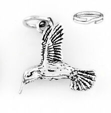 STERLING SILVER HUMMINGBIRD CHARM WITH ONE SPLIT RING