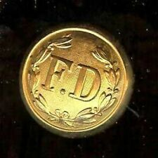 old FIRE DEPARTMENT  FD Button GOLDPLATED HALLMARKED