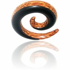 "PAIR OF 00G 10MM EBONY WOOD / COCONUT WOOD 1"" 1/2 INCH SPIRALS PLUGS PLUG COCO"