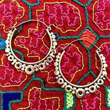 Circle Hoop Tribal Earrings in Brass