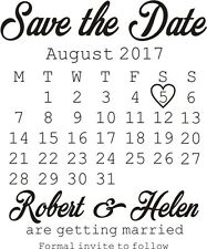Personalised Save The Date Rubber Stamp Wedding Celebration Black Pad