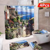 4Pcs Bathroom Shower Curtain Toilet Seat Cover Mat Non-Slip Pedestal Rug Set