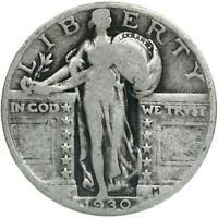 1930 Standing Liberty Quarter 90% Silver Very Good VG