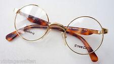 Freeland Kultbrille Nickelbrille Metallgestell gold Bügel Hornoptik braun rund S