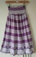 Next Women's Dress Size 8 Strapless Purple White Stripe Bandeau Elastic Holiday