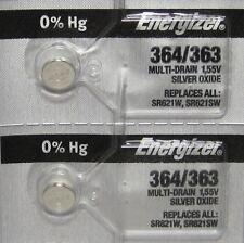 2 Pcs ENERGIZER 364 363 SR621W SR621SW WATCH BATTERY NEW