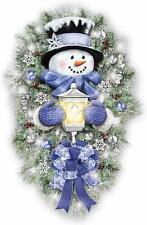 Thomas Kinkade A Warm Winter Welcome Holiday Snowman Wreath Lights Up: 2' Tall
