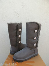 UGG BAILEY SWAROVSKI BUTTON TRIPLET BLING GRAY SHEEPSKIN BOOTS, US 10/ 41 ~ NIB