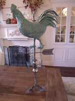 LARGE Handcrafted 3Dimensional struting ROOSTER Weathervane Copper Patina Finish