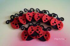 Felt Ladybugs!  (pack of 8) Die Cut Craft Embellishments, ladybirds