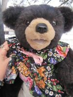 VINTAGE BLACK BEAR RARE TEDDY ARTIST BEAVER VALLEY ZOES FRIENDS MOLLY GIRL 16""