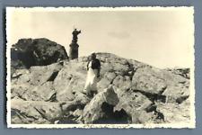 Suisse, Statue du Grand Saint Bernard  Vintage silver print. Schweiz. Switzerlan