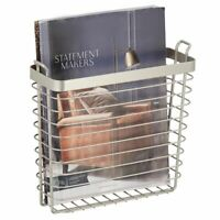 mDesign Metal Wire Wall Mount Magazine Rack, Compact Book Holder - Satin