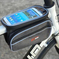Bike Front Frame Bag Bicycle Tube Double Bag With Phone Holder Side Pouch Pannie