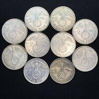 10 Coin Lot WW2 Nazi Germany 2 Reichsmark Hindenburg Silver Swastika Coins