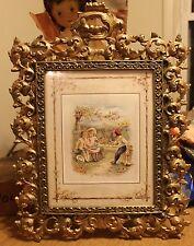 "Antique Ornate Vintage Heavy Brass Picture Frame Gold Gilding 17x13 1/2"""