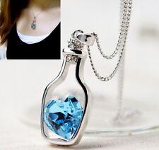 Crystal Heart Inside Bottle Beautiful Necklace Pendant Best Friend Present Gift