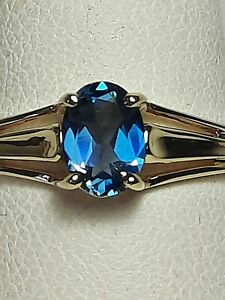 GORGEOUS 1.17 CT LONDON BLUE TOPAZ 10K SOLID YELLOW GOLD RING