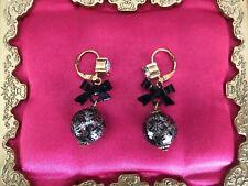 Betsey Johnson Vintage Vicki Victorian Black Lace Printed Glass Pearl Earrings