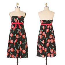 New Anna Sui Anthropologie Black Silk Papaver Poppy Strapless Dress Sz 10