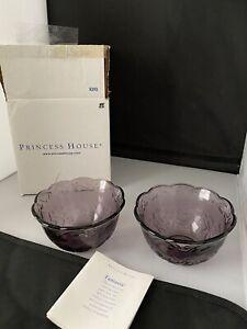 5292 Princess House Fantasia AMETHYST Purple BOWLS Set 4 NIB Discontinued HTF