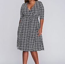 Lane Bryant KIYONNA essential wrap dress 3X 22/24 Navy/White