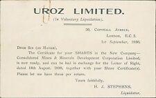 Uroz Limited. London - W Kerman. 11 Princes Street. 1930   JD991