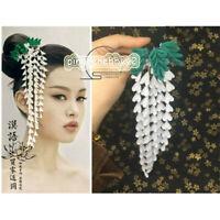 White Hairpin Kanzashi Hair Stick Tsumami zaiku Japan for Hanfu Kimono Gift