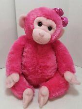 "Girlz Nation Aurora World Plush Stuffed Chimp Monkey 14"" Pink Bow Retired Girls"
