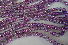 50 Clear/Pink/Mauve 6mm Drawbench Glass Beads #g3562 Combine Post-See Listing