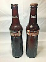 Lot of (2) Vintage 10oz. Brown Amber ORANGE CRUSH Soda Bottles