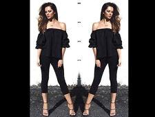 Womens Lace Off  Shoulder Top 2 Piece Suit Trousers Set Midi Bodycon Skirt 4 6 8