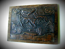 """5 x 7"""" Copper Hammered Relief Picture English Pointer - Duck Hunting Dogs"""