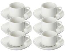 Set Of 6 Pure White Porcelain Espresso Cups And Saucers 2.81oz 80ml 12 Piece Set
