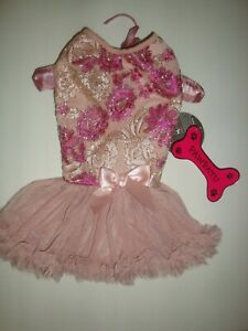 Pawpatu Dog Holiday Party Embroidered Floral Ruffle Petti Dress Dusty Rose Sz L