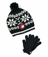 NWT Kids Winter Bombom Snowflake knit Hat & Gloves Set Canada Weather Gear Brand