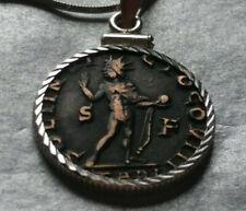 """Roman Copper Coin .925 Italian Silver Pendant on 20"""" Italian 925 Silver Chain"""